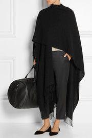 The RowRina fringed cashmere cape
