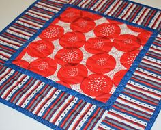 Quilted Patriotic Table Topper 4th of July Table Mat Red