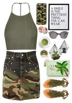 """""""CAMO // itsybitsy62"""" by itsybitsy62 ❤ liked on Polyvore featuring Illesteva, Topshop, Yves Saint Laurent, Casetify, Kate Spade, TheBalm, Palm Beach Jewelry and K. Jacques"""