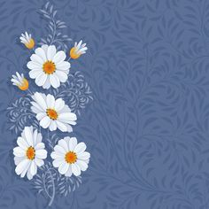 Fond - Printable - Background - Frame - Blue - Daisies