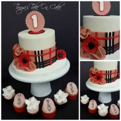 Burberry themed 1st birthday cake and cupcakes.
