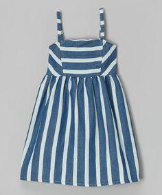 Love this Blue Stripe Chambray Dress - Girls on #zulily! #zulilyfinds