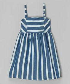 This Blue Stripe Chambray Dress - Infant, Toddler & Girls is perfect! #zulilyfinds