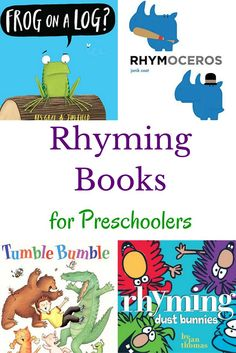 Check out these preschool books with an emphasis on rhyming. A great book list for helping kids develop phonological awareness.