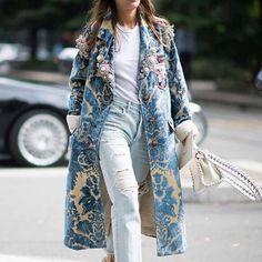 Floral Pattern Printed Long Sleeve Coat - ootdmw.com Coats For Women, Jackets For Women, Long Overcoat, Diva Fashion, Pattern Fashion, Mantel, Elegant, Spring Fashion, Long Sleeve