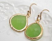 Lime green earrings, Green framed drop earrings, Lime Chartreuse Glass bezel set Drop earrings , Gold filled, Wedding Earrings, Bridesmaid