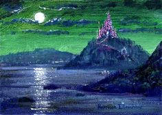 """Castle Bay"" By Harrison Ellenshaw - Original Acrylic on Canvas, 5 x 7.  #Disney #DisneyFineArt #HarrisonEllenshaw"