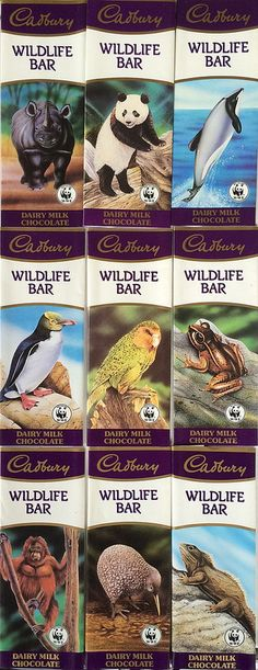 Cadbury Wildlife Bar Wrappers