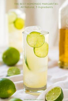 The Best Homemade Margaritas: All-Natural, 3-Ingredients - No sugar so you can sip worry-free! They go down way too easily! A #CincoDeMayo MUST!!