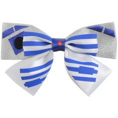 Disney Star Wars R2-D2 Glitter Cosplay Bow ($4.87) ❤ liked on Polyvore featuring accessories, bows, halloween and silver
