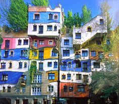 Austria - The Hundertwasserhaus in Vienna is a building designed by the artist Friedensreich Hundertwasser. It was constructed between 1983 and 1985 and is located in the Viennese district. Amazing Architecture, Architecture Details, Architecture Art, Friedensreich Hundertwasser, Beautiful Places To Visit, Oh The Places You'll Go, Amazing Places, Travel Around The World, Around The Worlds
