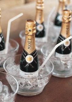 chilled mini champagne bottles for when the bridal party is getting dressed - this will be a definite must on my wedding day! Mini Champagne Bottles, Mini Bottles, Champagne Toast, Champagne Party, Champagne Drinks, Champagne Buckets, Champagne Glasses, Small Bottles, Dream Wedding