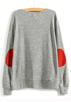 Grey sweatshirt w/ red elbow patches