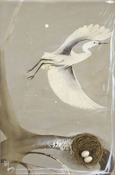 """Shao"" in 1978-79 by Brett Whiteley. Oil, nest and birds eggs on board."