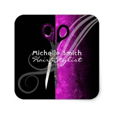 Trendy purple hair salon sticker - marble gifts style stylish nature unique personalize
