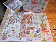 Making the lovely jigsaw with flowers by Janneke Brinkman, licensed by Orange Licensing.