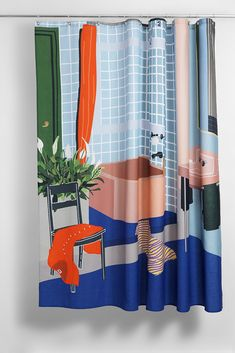 Shower Curtains and Bathroom Curtains the Bathroom Artist Cotton Shower Curtain Waterproof by Luxury Shower Curtain, Shower Curtain Art, Bathroom Rules, Bathroom Kids, Fabric Shower Curtains, Bathroom Shower Curtains, Bath Linens, Luxury Bath, Textiles