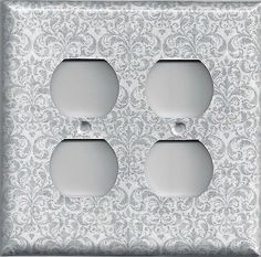 Silver/Gray/Grey Damask Print Hand Made Light Switch Plates & Outlet Covers
