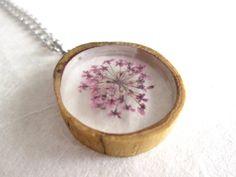 Purple Queen Anne's Lace & Wood Pendant by OonaCreation on Etsy