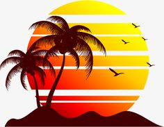 Beach sunset PNG and Vector Mouse Illustration, Beach Illustration, Silhouette Art, Art, Wall Painting, Sunset Art, Surf Art, Abstract, Sunset Painting