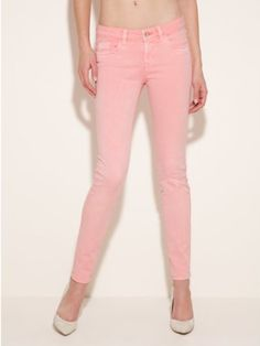 GUESS Brittney Skinny Jeans in pink, just got them.. Shirt ideas?