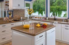 #Countertops: Walker Gold   #Cabinetry: 9000 Series in Ontario White #KitchenMakeover