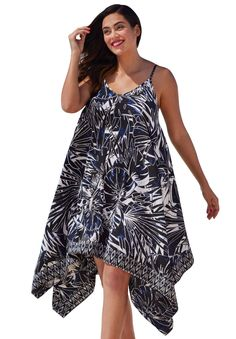 """The flowing silhouette makes this plus size coverup the most beautiful thing to wear to the beach or pool!  relaxed fit allows you to move with ease scoop neckline adjustable straps handkerchief hem about 39"""" coverup fits true to size polyester, hand wash, imported  Plus size coverups, swimwear- flowy dress coverup,sizes 10/12-22/24  In Style Now!  We love the shape of this coverup, it will instantly dress up your casual pool or beach look."""