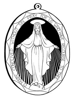 Miraculous Medal Coloring Pages, for December 8, Feast of Immaculate Conception