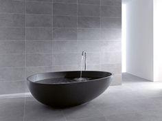 Bathroom, Astonishing Bathroom Design Ideas With Black Egg Shape Mastella Bathtub Together With Dark Ceramic Tile Floor And Dark Ceramic Tile Splashback As Well: Some Brilliant Bathroom Ideas with Bathroom Accessories to Equip your  Modern Bathroom