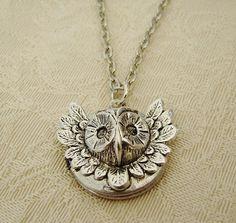 Small Silver Owl Locket Necklace Steampunk Wedding Bride Bridesmaid Bird Lover Anniversary Wife Petite - Selma on Etsy, $27.00