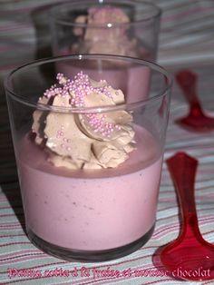Panna cotta � la fraise et mousse chocolat