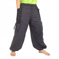 Harén pantalones étnicos impresión con el lado grande hacia bolsillos antracita