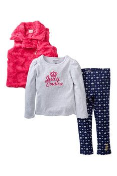 Juicy Couture Graphic Tunic, French Terry Jegging, & Faux Fur Vest Set (Toddler Girls)