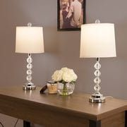 Faceted Crystal Balls LED Table Lamps Set of 2