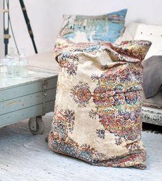 Carpet recycling into a bean bag