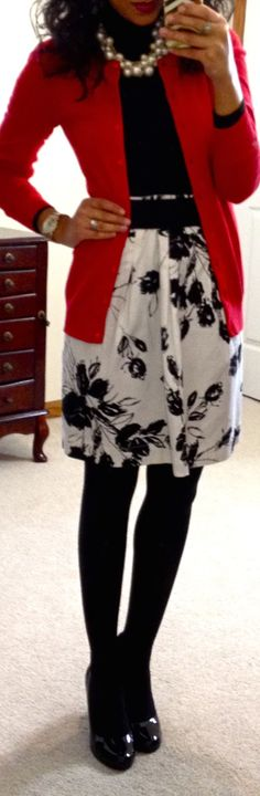 Winterized floral skirt: turtle neck, cardi, skirt, & tights.
