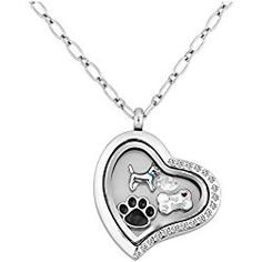 LuckyJewelry Puppy Dog Paw Print Heart Living Floating Charm Memory Locket Pendant Necklace With 18 Chain