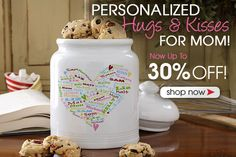 PersonalizationMall is having a huge Mother's Day Sale! You can save up to 30% off Personalized Gifts For Moms, Grandmas, Godmothers and more! Check out this adorable Her Heart of Love Cookie Jar - personalize it with all of her kids or grandkids names and it forms a heart!
