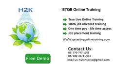 H2kinfosys Provides ISTQB  Online Training and job placement Also. The course provides latest updates on ISTQB, daily sessions via recorded videos, mock interviews and ISTQB job placement and update on ISTQB skills to get a complete knowledge on the course.