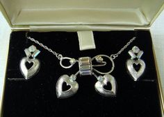Tru Kay Sterling & Rhinestone Necklace and Earrings in Box by EyeSpyGoods on Etsy