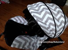 Boy and Girl chevron gray pint and black and brown Infant car Seat Cover Baby car seat cover Canopy cover fit most Infant car seat on Etsy, $44.99