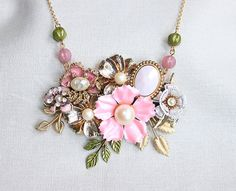 Statement Collage Necklace flowers gift for her by tattychic, $90.00
