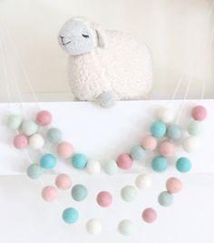 Pink Mint Aqua Felt Ball Garland-Pom Pom Bunting by SheepFarmFelt