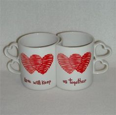 AtMemoryLane, I have this pair of interlocking mugs.    They snuggle together…
