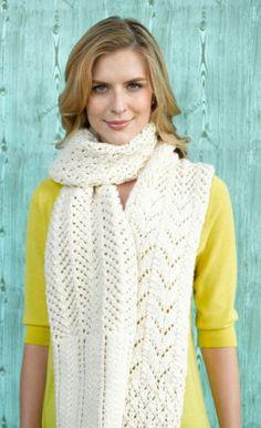 Free Knitting Pattern 90648AD Barbizon Lace Scarf : Lion Brand Yarn Company