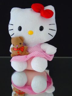 "TY 2010 Hello Kitty by Sanrio 6"" Plush Toy Hello Kitty w Teddy Bear. EXTRA…"