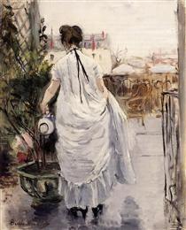 Young Woman Watering a Shrub - Berthe Morisot