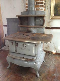 Grey Porcelain Antique Kitchen Wood Coal Cast Iron Stove All Original 4 Burner   eBay