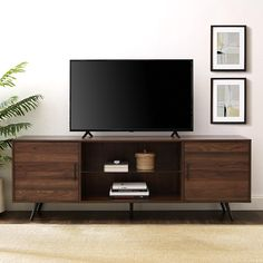Shop Carson Carrington Esbo Mid-century TV Console - On Sale - Overstock - 25612815 - Dark Walnut Racks Tv, Walnut Tv Stand, Living Room Tv, Tv Stand Ideas For Living Room, Dining Room, Mid Century Modern Design, Adjustable Shelving, Mid-century Modern, Midcentury Modern Tv Stand