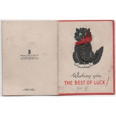 Rare Tuck Wishing You the Best of Luck Card Black Cat metal Horseshoe & Pin Listing in the Greeting Cards,Paper & Ephemera,Collectables Category on eBid United Kingdom   142539455
